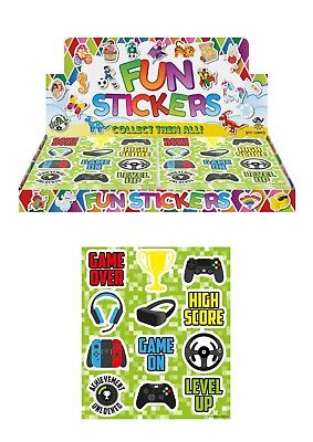 6 Sheets GAMER GAMING Stickers  Childrens  Party Bag Fillers Kids Craft Toys • 1.29£