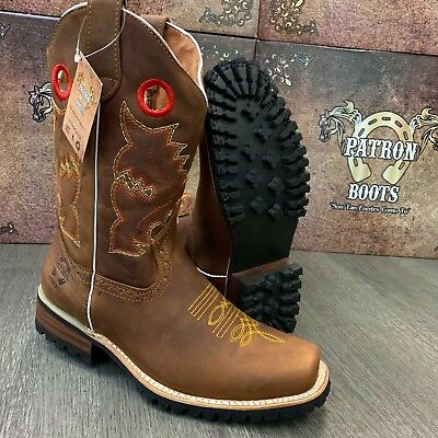 $64.99 • Buy Men's Brown Boots Western Cowboy Square Toe Crazy Leather Tractor Sole
