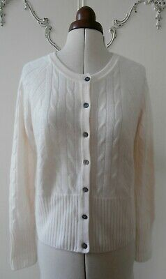 BNWOT Genuine N Peal Cashmere Cable Knit Cardigan Size S UK 8-10 RRP £295 • 99.99£
