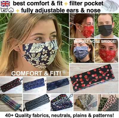 Face Mask REUSABLE WASHABLE UK ADJUSTABLE Pm2.5 FILTER POCKET Cotton BREATHABLE  • 5.49£