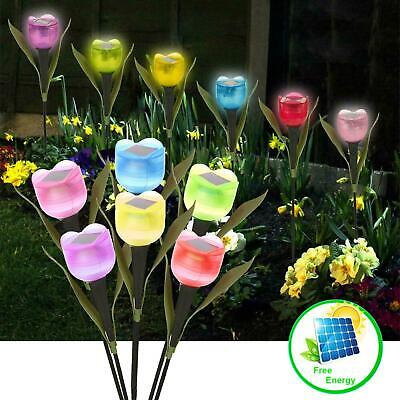 LED Solar Powered Garden Lights Outdoor Stake Patio Post Pathway Flower Light 6X • 8.95£