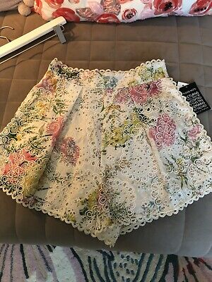 $375 • Buy Zimmermann Heathers Floral Print Broderie Anglaise Cotton Shorts Size 1 NWT