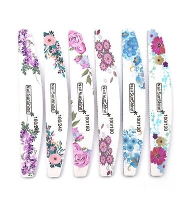 Acrylic/gel/natural Nail Files Professional Quality Half Moon/buffer Emery Board • 1.50£