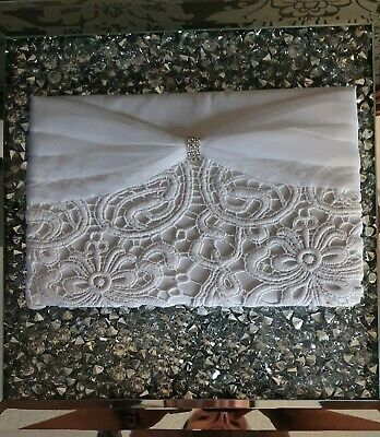 Wedding Guest Book. White With Lace And Diamontees Bnib • 5£
