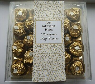 FERRERO ROCHER PERSONALISED LABELS Chocolate Box Birthday Anniversary Gift X 2 • 4.99£
