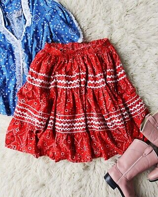 $24 • Buy Vintage 50's 60's Red Paisley Square Dance Floral Skirt Ruffle Circle Skirt M