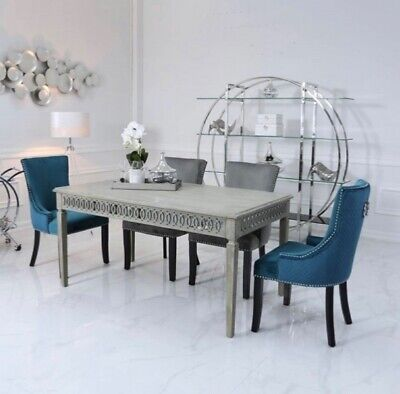 Morden Grey Wooden/ Mirrored 6 Seater Dining Table Second Hand, RRT £540.00 • 405£