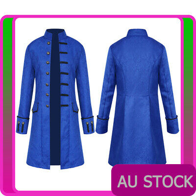 Mens Vintage Steampunk Costume Blue Tailcoat Jacket Gothic Victorian Frock Coat • 26.58£