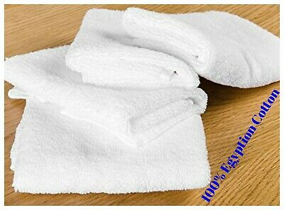 50 X White Face Cloth Towel 500 GSM Flannels Wash Cloth 100% Egyptian Cotton • 7.99£