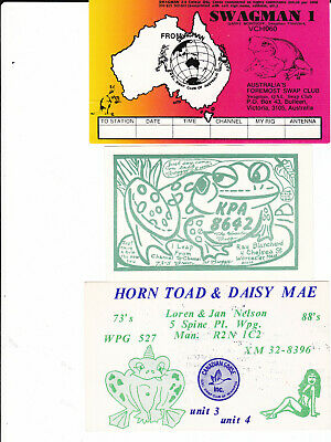 $ CDN6 • Buy 3 CB QSL Radio Calling Cards FROGS Toads Frog FREE SHIPPING