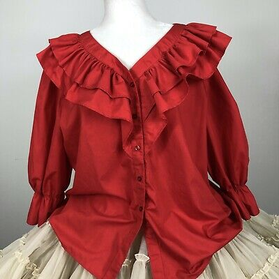 $25.60 • Buy Square Dance Blouse XL Red Ruffled Button Down 3/4 Sleeve