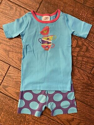 $6.99 • Buy Hanna Andersson Short John Pajamas Size 110 Cm 5 Years Turquoise With Purple