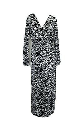 AU45 • Buy ASOS Size 14 White Black Abstract Print Long Sleeve Pleated Maxi Dress