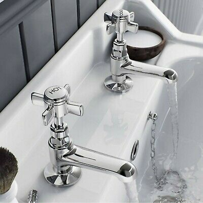 £19.50 • Buy Traditional Bathroom Basin Taps Hot & Cold Pair Twin Chrome Handle Solid Brass