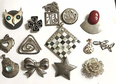 $ CDN17.01 • Buy HUGE LOT 13 VTG 925 STERLING SILVER PENDANTS BROOCHES BIG CHUNKY 198g NICE!