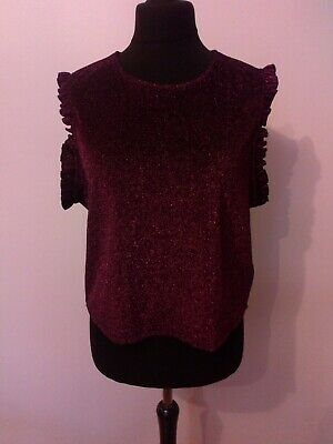£12 • Buy  Marks & Spencer Limited Edition Burgurdy Sparkle Frill Party Top Size 22 S/less