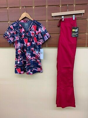 $0.99 • Buy NEW Crimson Print Scrubs Set With Barco XS Top & Wink XS Tall Pants NWT