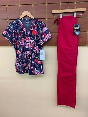 $0.99 • Buy NEW Crimson Print Scrubs Set With Barco Small Top & Wink Small Tall Pants NWT