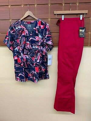 $0.99 • Buy NEW Crimson Print Scrubs Set With Barco 2XL Top & Wink 2XL Tall Pants NWT