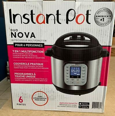 $69.99 • Buy Instant Pot Duo Nova 6 Quart 7-in-1, One-Touch Multi-Cooker Stainless Steel