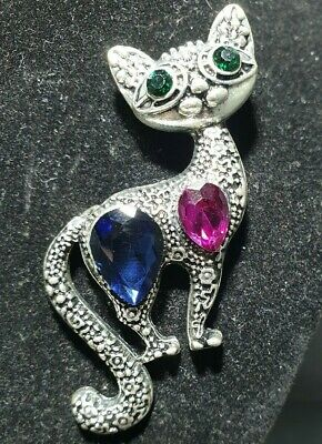 Silver Tone Cat Brooch Posing With Blue/pink Stones & Emrald Green Coloured Eyes • 8.99£