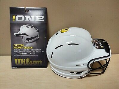$20 • Buy Wilson  The One  Adjustable Softball White Helmet Facemask Black Decals
