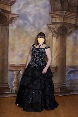 $128.81 • Buy Off The Shoulder Size 14 Black Sequined Evening Dress Ball Gown Appliqué Beaded