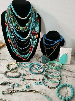 $ CDN50.90 • Buy Vintage To Now Blue & Green Turquoise Jewelry Lot Necklace Bracelet Earring Ring