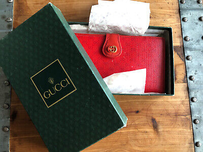 $90 • Buy Vintage Authentic Gucci Red Wallet Clutch Continental Kisslock Monogram