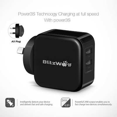 AU22.81 • Buy BlitzWolf BW-S2 Power3S 4.8A Dual USB Wall Charger AU Plug Adapter For IPhone X