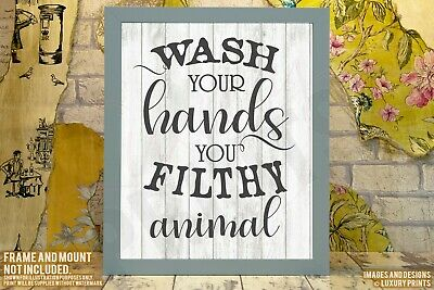 Wash Your Hands You Filthy Animal Print Canvas Word Bathroom Kitchen Sign • 5.99£