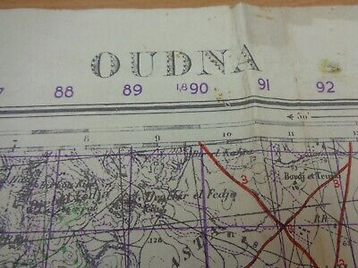 WW2 (1943) British INFANTRY Map Entitled  OUDNA  (PARATROOPERS  BATTLE HONOUR ) • 39.99£