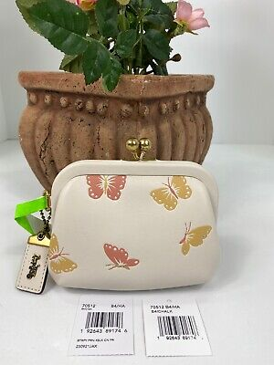 $189.99 • Buy New Coach Coin Purse Butterfly Print Leather Kisslock Framed 70512 W26