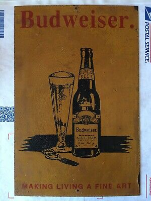 $ CDN132.11 • Buy Budweiser Beer Tin Sign Metal VTG Make Living A Fine Art Advertising Ad Alcohol