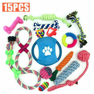 15PCS Indestructible Chew Toys For Dogs Set Dog Teeth Cleaning NEW • 10.84£