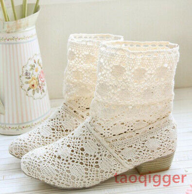 £31.14 • Buy Fashion Women Ankle Boots Summer Block Heel Hollow Out Breathable Knitted Shoes