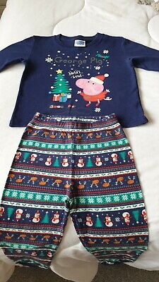 Younger Boys George Pig Christmas Pyjamas, 4 Years, Good Condition • 1.50£