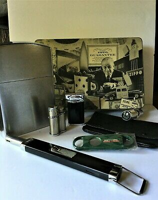 $5.50 • Buy Misc. Lot. - ZIppo  Ad. Tin, 5 Lighters, Tobacco Pouch, & Macanudo Cigar Cutter