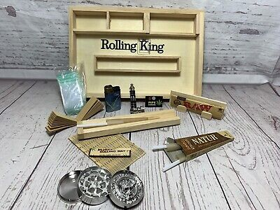 Wooden Rolling Tray Box 10Pc Gift Set Smoking Raw Paper Pipe Tin Lighter Grinder • 21.95£