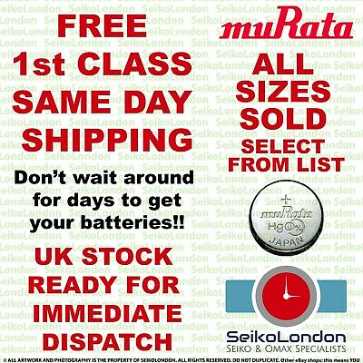 Murata (Sony) Silver Oxide Watch Battery ALL SIZES OF WATCH BATTERIES - FAST!! • 1.79£