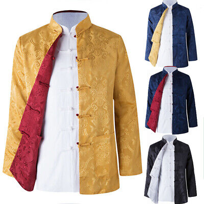 $21.84 • Buy Reversible Traditional Chinese Clothes Men Tang Suit Top Silk Print Jacket Coat