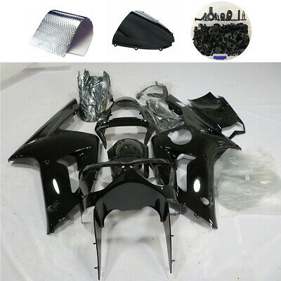 $384.21 • Buy Glossy Black Fairing Kit For Kawasaki ZX6R 2003 2004 636 Injection Body + Bolts