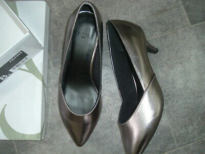 Size 8e New Evans Pewter Slip On Mid Heel Shoes Wide Fit • 5£