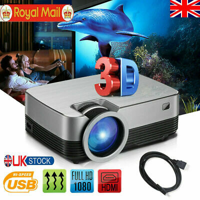 Full HD1080P 7000 Lumens LCD LED Projector Home Theater TV Home USB HDMI AV Xmas • 57.99£