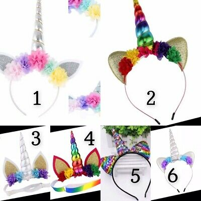 AU10 • Buy Girls Unicorn Horn Headband Hairband Birthday Party Fancy Dress Headwear Costume