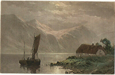 £5 • Buy C. W. Faulkner Two Boats With A Mountain Background Postcard Series 1562