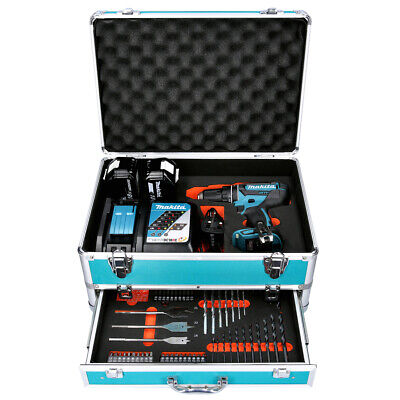 Makita DHP482 18V Combi Drill + 2 X 3Ah Batteries & Charger With 70pc Acc. Set • 198£
