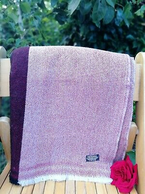 Pure 100% Cashmere Blankets Nepalese Handmade  Ruby Rose With Black Border • 55£