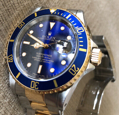 $ CDN11499.99 • Buy Rolex Submariner W Serial Number 16613LB Two Tone Blue Gold 1995 Holes