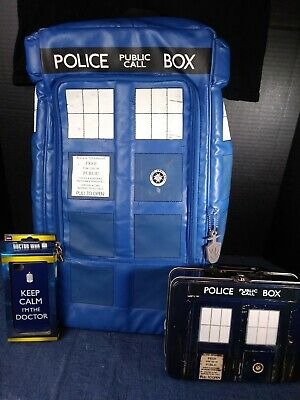 £40.14 • Buy DOCTOR WHO Police Box Tardis Union Lot-Black TSHIRT XL, Backpack, Lunch Tin&More